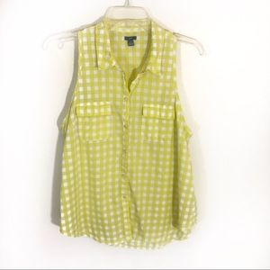 Aerie Gangnam print sleeveless button down top